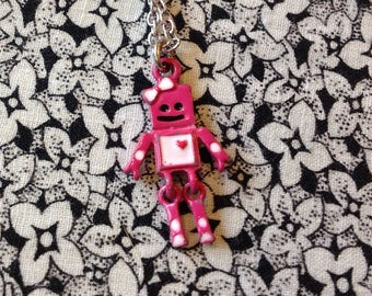 Necklace with a Metal Pink Robot Charm, Pendant