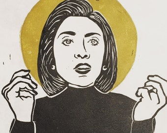 Hillary Clinton Icon Linocut Print
