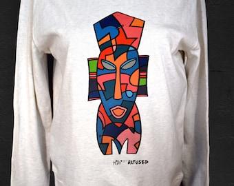 "Women's Sweatshirt Artused Design ""Le Masque Africain"" 100% Organic - Paint & Print in France -"