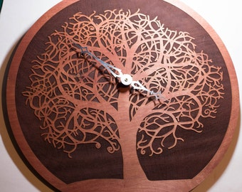 Tree of Life Engraved Wooden Clock