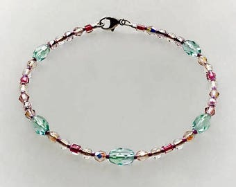 Glowing Glass Anklet in Sterling Silver