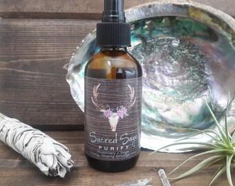 Sage + Rosemary Smudge Spray / Energy Healing Smudge Mist - 4oz / Smoke-Free Smudge / Clears Negative Energy / Meditation / Prayer / Ritual