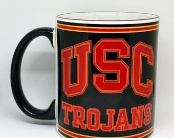 Custom Made USC Trojans Coffee Mug with your name Black Handle and Rim