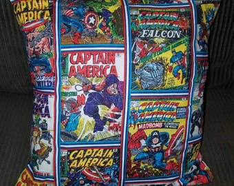 "Captain America Comic Covers 16"" x 16"" Decorative Throw Pillow (with Insert)"