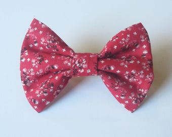 Cherry Blossom  on Strawberry Bow Tie- All Sizes