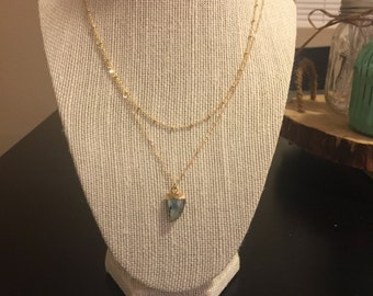 Labradorite horn and 14k gold layered necklace/layered pendant necklace/14k gold filled lauered necklace/labradorite layered necklace