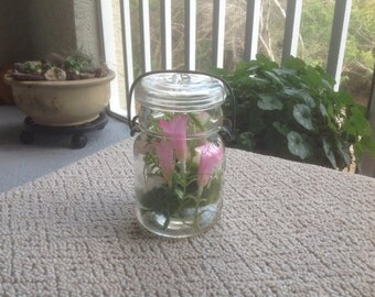 Vintage canning jars with a floral flare
