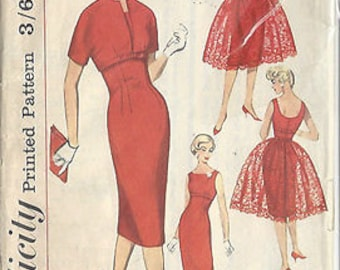 "1959 Vintage Sewing Pattern DRESS B34""-S14 (20) Simplicity 3035"