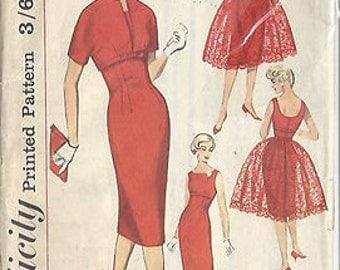 "1959 Vintage Sewing Pattern DRESS B34""-S14 (20) Simplicity 3035"