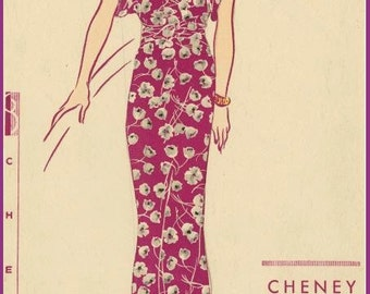 1930s Vintage VOGUE Sewing Pattern B34 Evening Dress with TRAIN (R953)