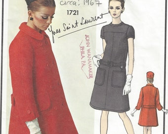 1967 Vintage VOGUE Sewing Pattern B34 COAT & DRESS (1776) By Yves Saint Laurent