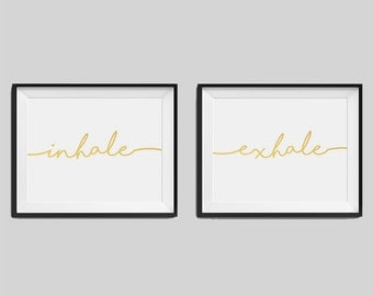 "Set of two real foil prints ""Inhale"", ""Exhale"" Bedroom Wall Art, Gold Home Decor, Gold Bedroom Decor, Typography, Housewarming Gift"