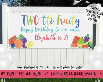Twotti Fruity Banner, Tutti Fruity Banner, Twotti Fruity Birthday, Two-tti Fruity Banner, Tutti Fruity Birthday, Birthday Banner