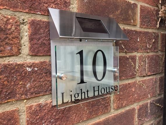 Modern House Sign Plaque Door Number Street Glass Aluminium
