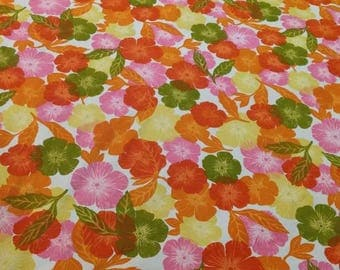 Full sized flowery vintage cotton bedspread. IC Vat Screenprint