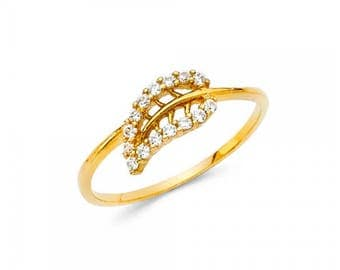 14K Solid Yellow Gold Cubic Zirconia Leaf Ring - Polished Finger Band
