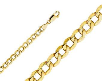 "10K Yellow Gold Hollow Cuban Bracelet 6.0mm 7-9"" - Curb Chain Link"