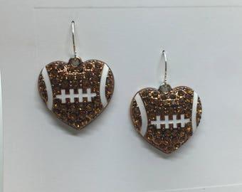 Football Heart Earrings - Football Earrings - Rhinestone Footballs - Sports Jewelry - Football Mom - Sports Fan Earrings