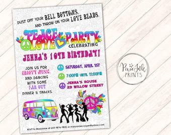 Hippie Invitation Etsy