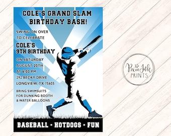 Baseball Birthday Invitation, Grand Slam Birthday Party Invitation, Baseball Invite Printable, Baseball Player Birthday Invite, Team Color