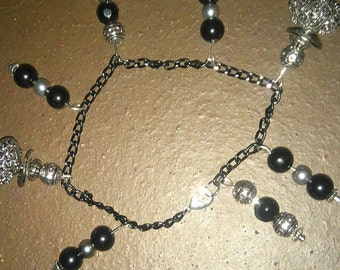 black chain silver and black dangle bead bracelet