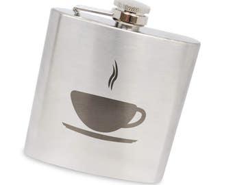 Coffee 6 Oz Flask, Stainless Steel Body, Handmade In Usa