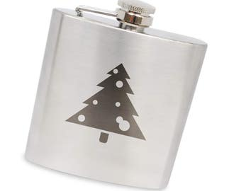 Decorated Christmas Tree 6 Oz Flask, Stainless Steel Body, Handmade In Usa