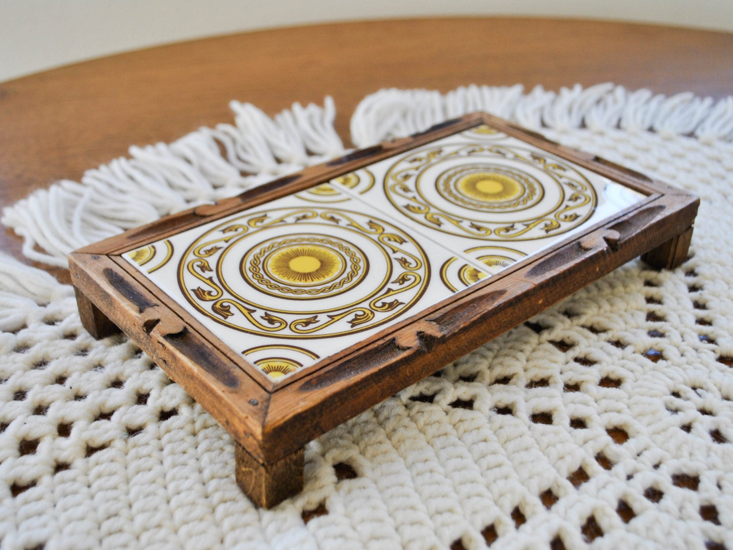 Wood Carved Ceramic Tile Trivet