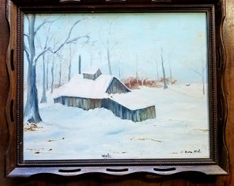 Oil on Canvas Painting by Deana West, Folk Art, American Art, Americana, Cabin Art, Cabin Chic