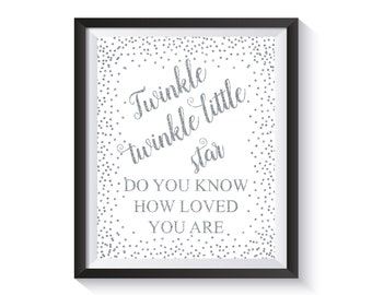 Twinkle twinkle little star, Baby Shower Sign, Silver Confetti Baby Birthday Printable, Kid's Party Decoration, Nursery decor, Kids room art