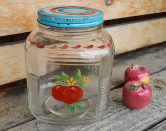 Vintage Cookie Jar, Glass Canister, Mid Century, Large Kitchen Jar, 10 Inch, Hand Painted, Birthday Gift for Him, Shower Gift for Her