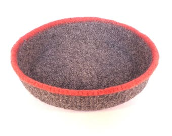 Grey and coral felted bowl 20cm