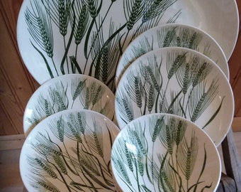 Wheat pattern green and white transferware china by Homer Laughlin Co.
