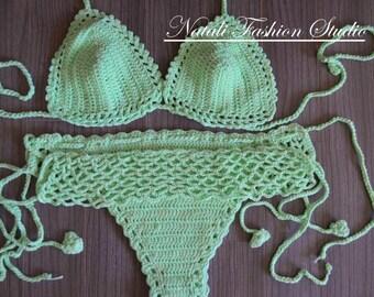 Сrochet bikini set Crochet swimsuit Crochet Bohemia Style  Bathing Beach Bikini swimsuit, custom color and size