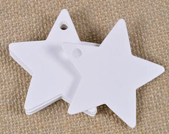 10 tags labels stars tabs white 6cm