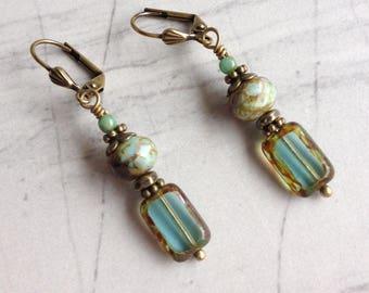 Aqua and Turquoise Earrings, Boho Drop Dangle Earrings, Boho Vintage Earrings, Aqua Jewelry, Czech Glass Earrings, Gift For Her