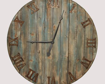 "36"" Oversized wall clock. distressed to look like reclaimed wood"