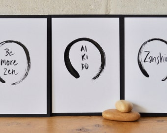 Enso Print 5 x 7 // Zanshin Art // Zen Decor // Zen Wall Art // Enso Art // Aikido Art // Black Circle // Calligraphy // Brush Calligraphy