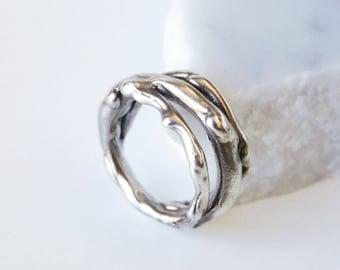 Melting Silver Ring, Triple spiral ring