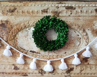 Wood bead tassel garland