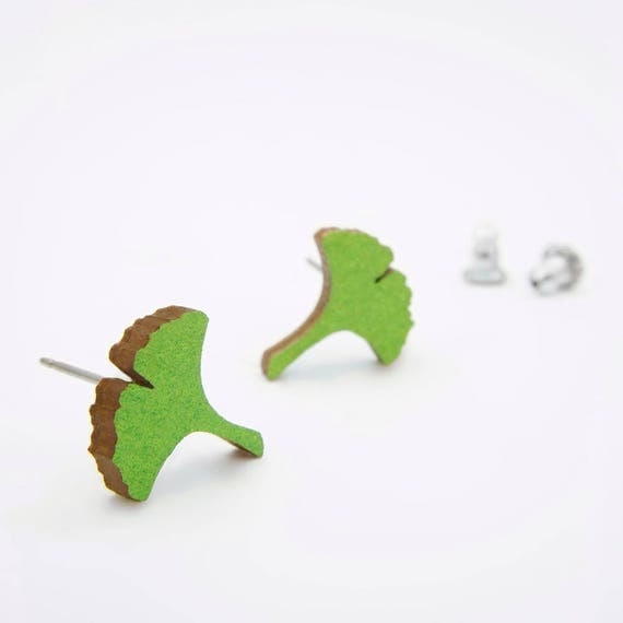 Green Ginkgo Stud Earring