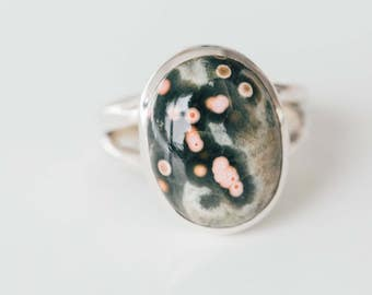 3. All Natural Ocean Jasper • solid sterling SILVER • Graphic • Ring • Size 7