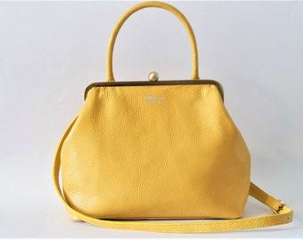 Clutch Purse,Leather Handbag,Leather Tote, Shoulder Bag, RETRO clutch,Leather Bag,yellow bag