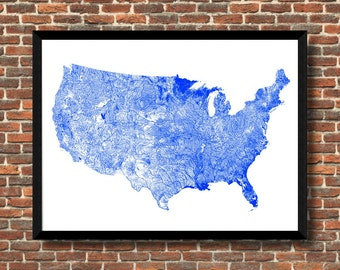 River Map United States Rivers Waterbodies High Resolution Digital Print United States Map