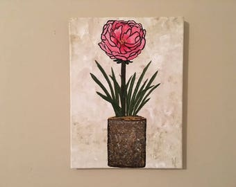 "Wall Flower - wall décor acrylic painting, 9""x12"" canvas stretched/wrapped on 5/8"" bars"