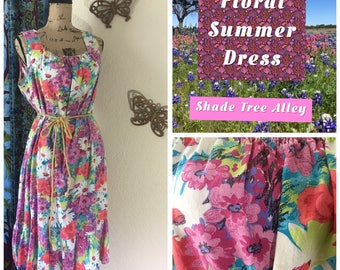 Vintage Floral Summer Dress 1960s size XL