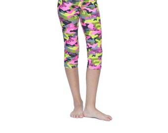 Camo Capri Leggings, Spandex Capri Leggings for Girls