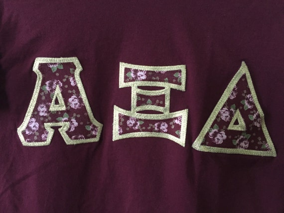 alpha xi delta stitched letters shirt With alpha xi delta stitched letters