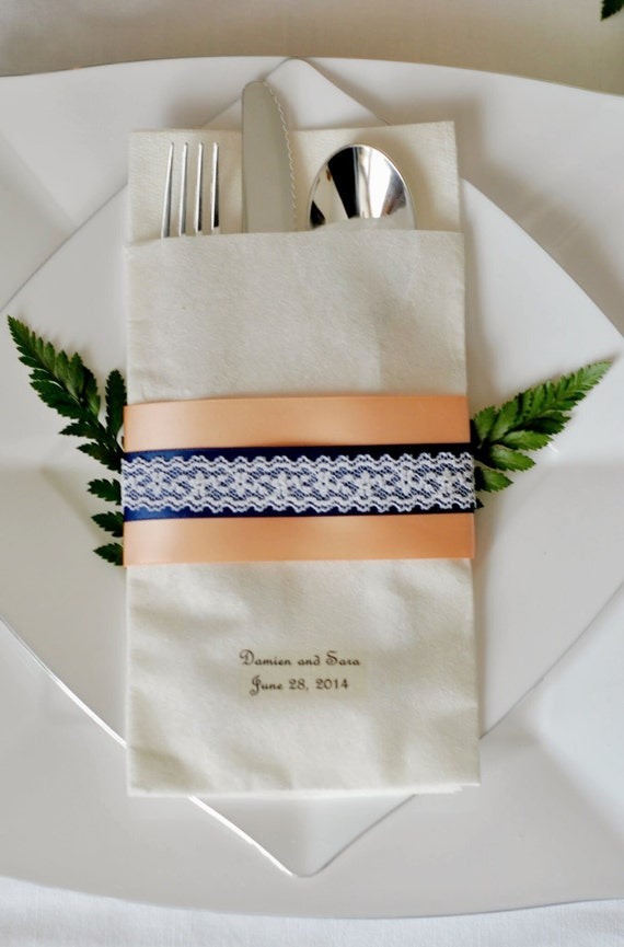 Lace Accented Double Ribbon Linen-Like Wedding Napkin