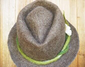 Womens Felt Brown Vine Fedora Hat  - OOAK Unique